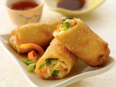 medely of crispy vegetables are wrapped in our traditional egg rollVegetarian Egg Rolls